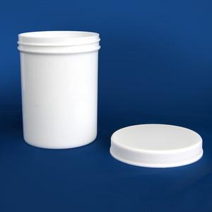 White Polypropylene Jar, Unlined PP Caps, 8 oz, case/60