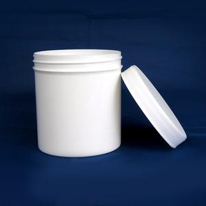 White Polypropylene Jar, Unlined PP Caps, 16 oz, case/48