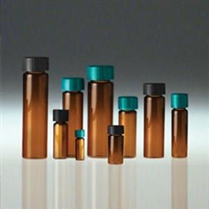 Amber Glass Vials, 20mL, Black Cap, PTFE Disc, Cleaned/ Cert, case/80