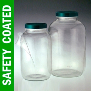 Safety Coated Wide Mouth Glass Jar, 64oz, PTFE Lined Cap, case/6