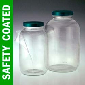 Safety Coated Wide Mouth Glass Jar, 128oz, PTFE Lined Cap, case/4