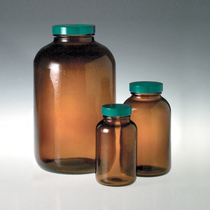 Amber Wide Mouth Glass Bottle, 1250mL, PTFE Lined Cap, case/6