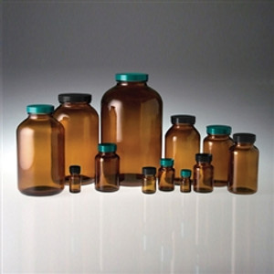 Amber Wide Mouth Glass Jar, 1250mL, Vinyl Lined Cap, case/6