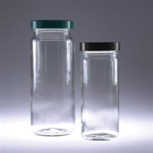 Clear Tall Glass Jar, 16oz, White Polyethylene Foam Lined Cap, case/12