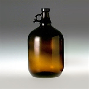 4 Liter Amber Glass Jug, 128oz, 38-400 Black Polyethylene Lined Cap, case/6