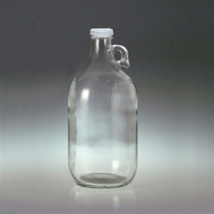 Clear Glass Jug, 64oz, White Metal Polyethylene Lined Cap, case/6