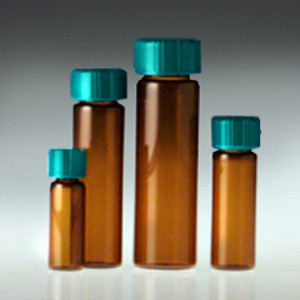 Amber Glass Vials, 60mL, PTFE Lined Cap, case/72