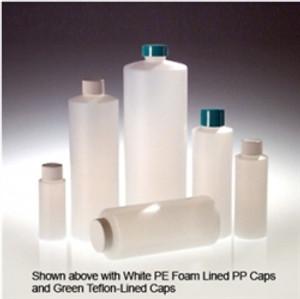 HDPE, Cylinder Bottle, 16oz, 28-400 White Foam Lined Cap, case/24