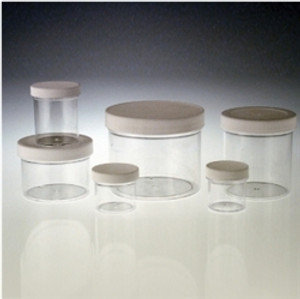 Clear PS Jar, White Foam Lined Cap, 8oz, case/36