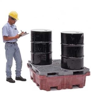 UltraTech 0802 Super Drum Spill Pallet, Drain, 4-Drum Spill King, 85 gal sump