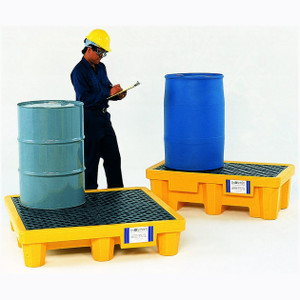 UltraTech 1011 Drum Spill Pallet with Drain, Yellow, 2-Drum