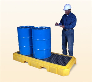 Drum Spill Pallet P3 Plus, no Drain, Yellow, 3-Drum
