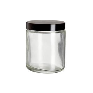 8oz Bottle, Clear Type III, Safety Coated, Black Phenolic Cap, case/12