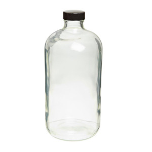 32oz Glass Bottle, Clear, Safety Coated, Poly Liner, case/12