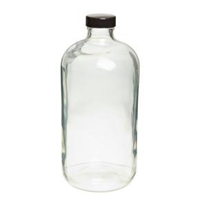 32oz Glass Bottle, Clear, Safety Coated, PTFE Liner, case/12
