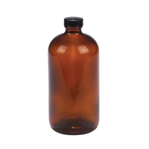 32oz Amber Glass Bottle, Safety Coated, PTFE Liner, case/12