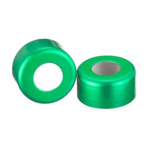 11mm Seal, Open Top Hole Cap, Aluminum Green, Unlined, case/1000
