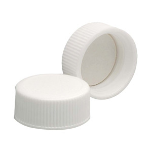22-400 Polypropylene Caps, White, PTFE Liner, case/144
