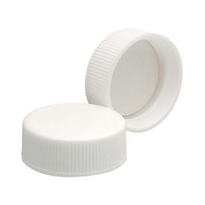 28-400 Polypropylene Caps, White, PTFE Liner, case/144