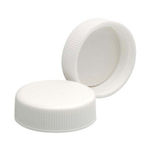 33-400 Polypropylene Caps, White, PTFE Liner, case/144