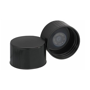 38-430 Caps, Black, Leakproof Cone Liner, case/100