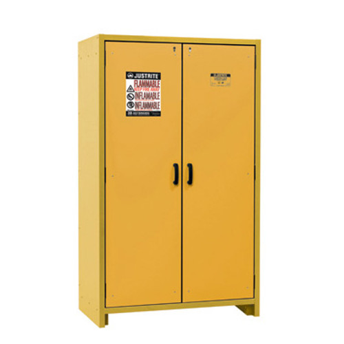 Delightful Justrite EN Flammable Safety Cabinet, 30 Minute Rated, 45 Gal, 3 Shelf,  Yellow