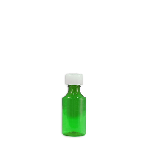 Oval Pharmacy Bottle, Green, Graduated, Child-Resistant, 2oz, case/200