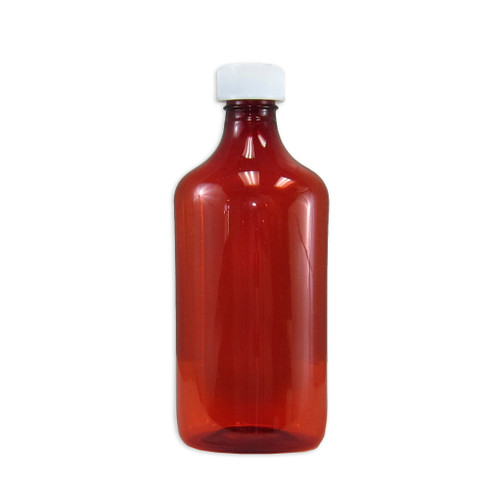 Amber Oval Pharmacy Bottle, Child Resistant Caps, 16oz, case/50