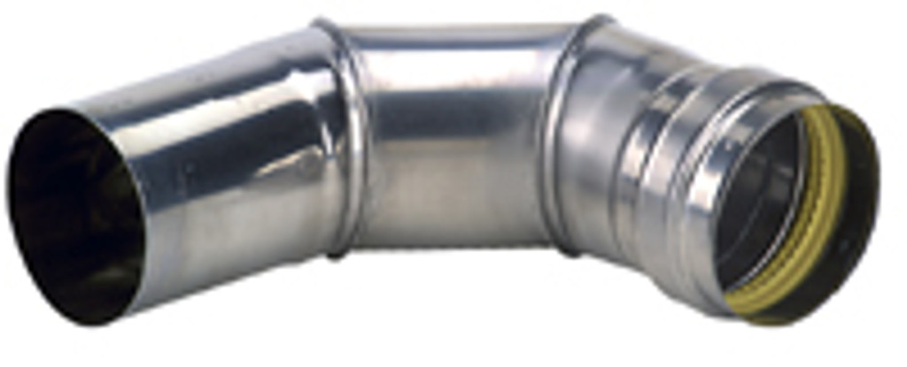 "4"" 90 Degree Stainless Steel Elbow Side View"