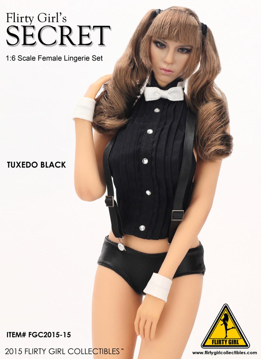 Flirty Girl - Tuxedo Lingerie Female Head Double Ponytails
