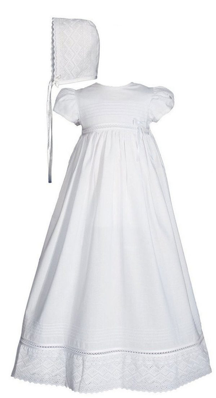 Girls 30″ White Cotton Dress Baptismal Gown Baptism Gown with Lace ...
