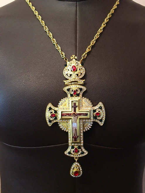 Gold Plated Pectoral Cross with Radiant Christ