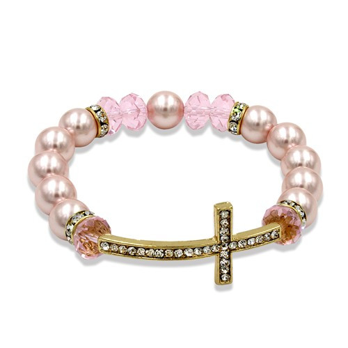 Gold-tone Pink Simulated Pearl/Crystal Cross Bracelet