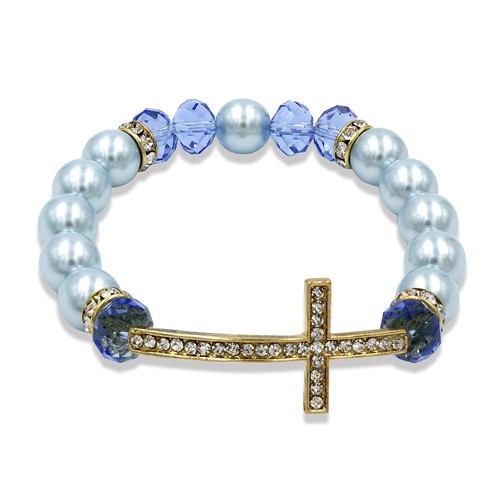Gold-tone Blue Simulated Pearl/Crystal Cross Bracelet