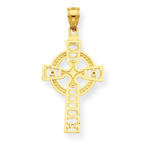 14KT Celtic Cross w/Eternity Circle Pendant