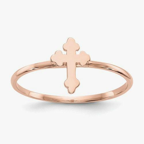 14KT Rose Gold Polished Orthodox Cross Ring