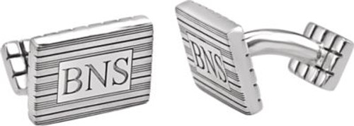Personalized Sterling Silver 3-Letter Serif Monogram Cufflink Set