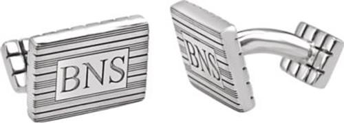 Personalized Sterling Silver 3-Letter Serif Monogram Cufflink Set