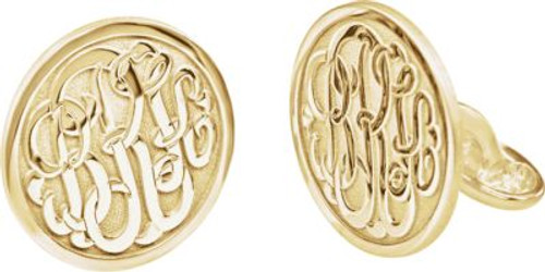 14K Yellow Gold-Plated over Sterling Silver Script Monogram Cuff Links