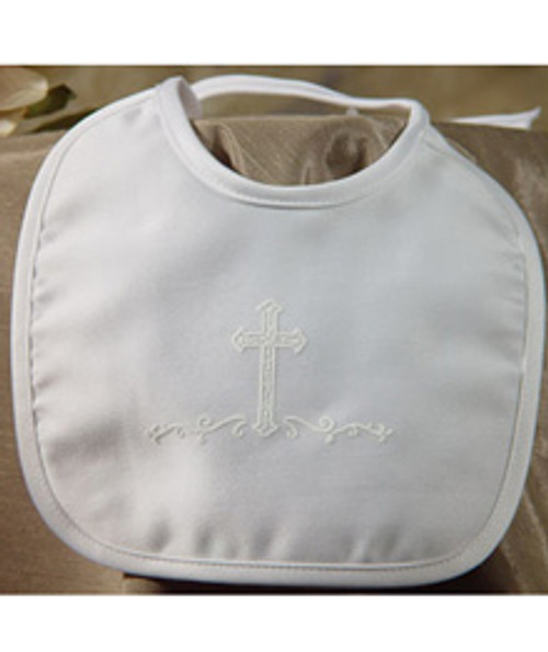 White Satin Matte Bib with Screened Cross