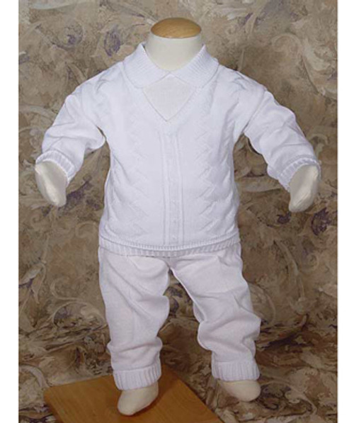 Boys Knit Two-Piece Coverall Baptismal Outfit