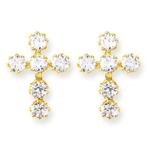 14KT & CZ Cross Post Earrings