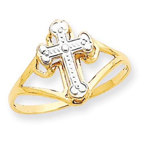 14KT & Rhodium Cross Ring- Size 7