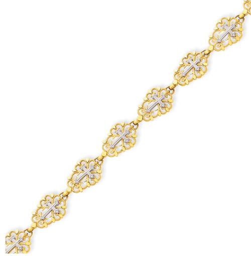 14KT Two-Tone Diamond Cut Cross Bracelet