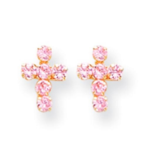 14KT & Pink CZ Cross Post Earrings