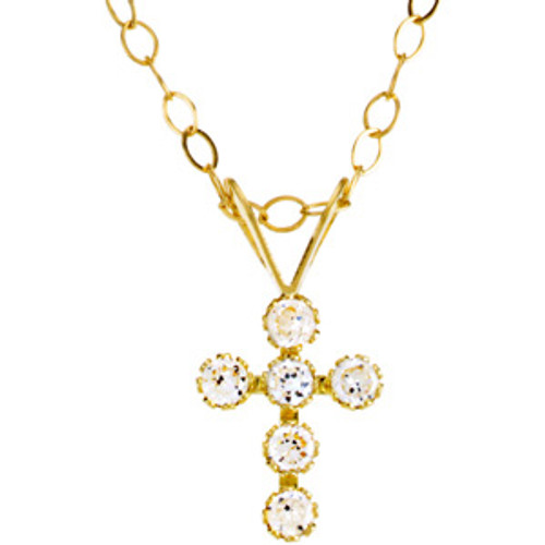"""14KT & CZ Cross Pendant with 15"""" Chain"""