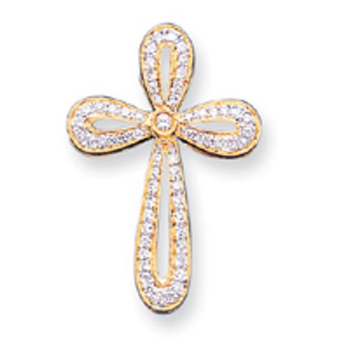"""14KT Genuine Diamond Looped Cross Pendant- 1 3/8"""""""
