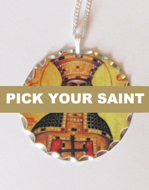 """Pick-Your-Saint Silver Round Icon Pendant with 18"""" Sterling Silver Chain"""