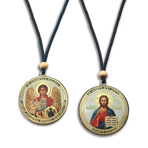 Dual-Sided Hanging Car Icons- Christ & St. Archangel Michael
