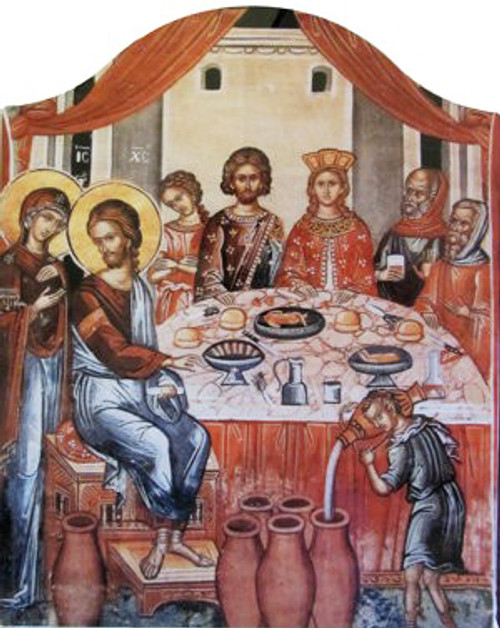 Wedding at Cana Icon- Standing Arched Panel